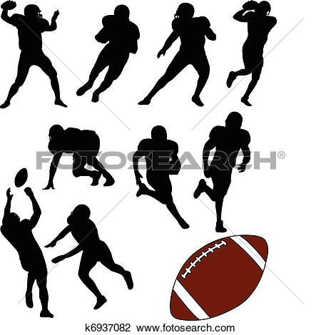 Clipart of American football silhouettes k6937082.