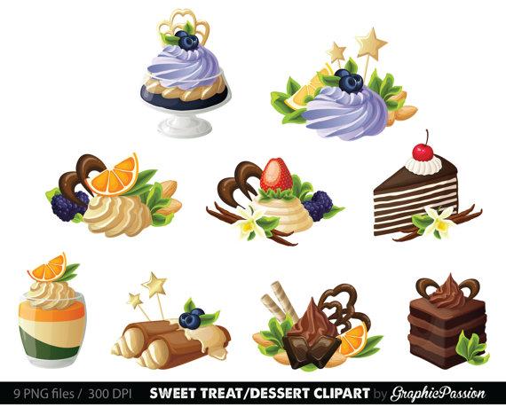 Desserts Digital Clipart Cake Clip art Sweet by.