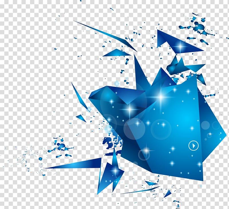 Blue illustration, Geometry Polygon Geometric shape, blue.