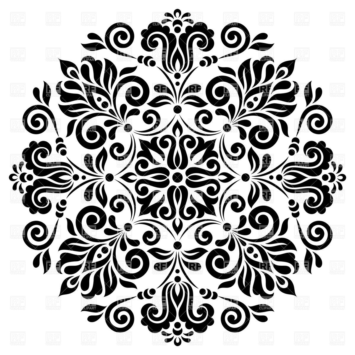 Round graphic floral pattern Stock Vector Image.