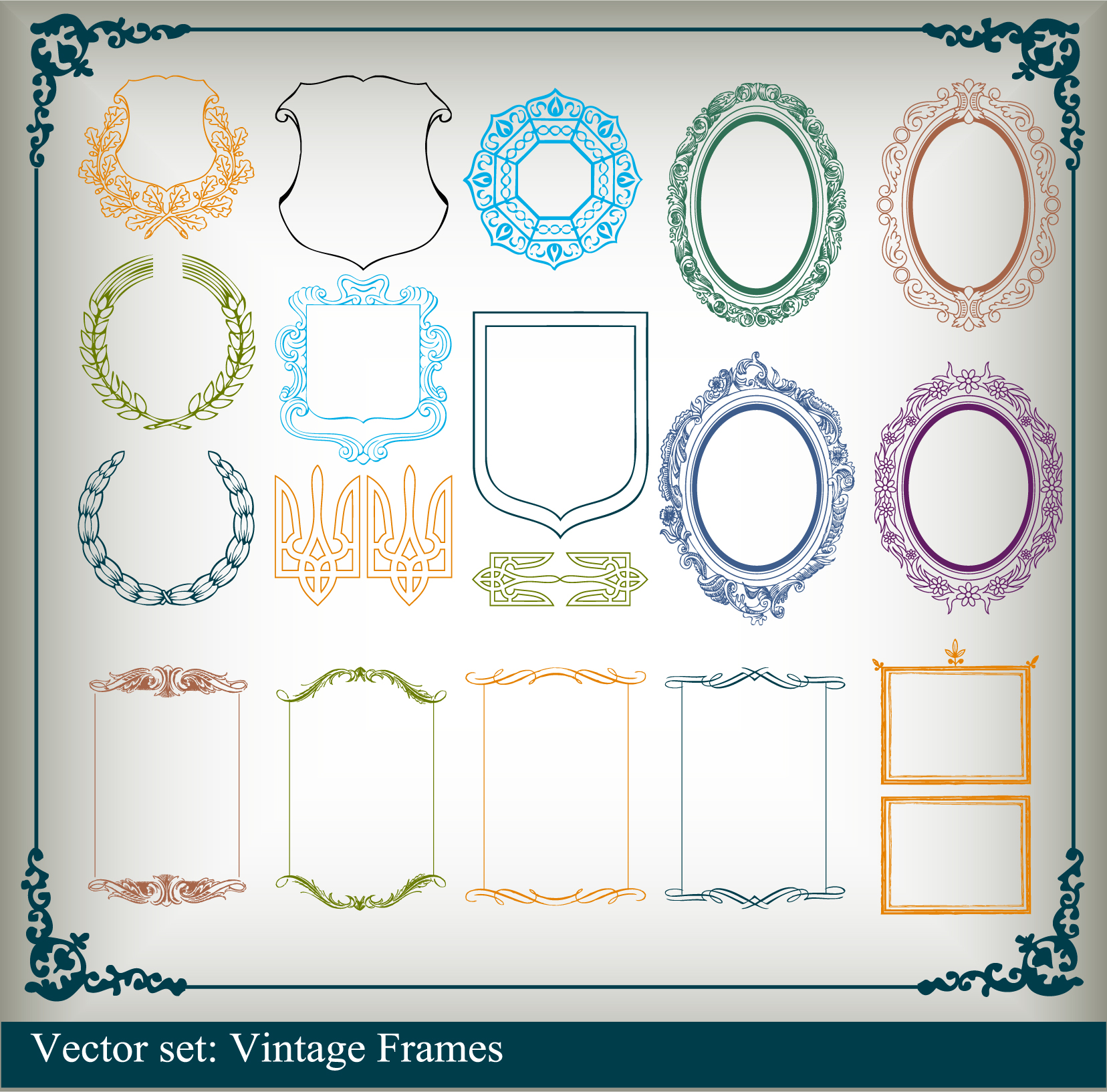 Variety of graphical borders clip art Free Vector / 4Vector.