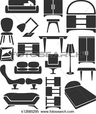 Clipart of Graphical furniture set k12685295.