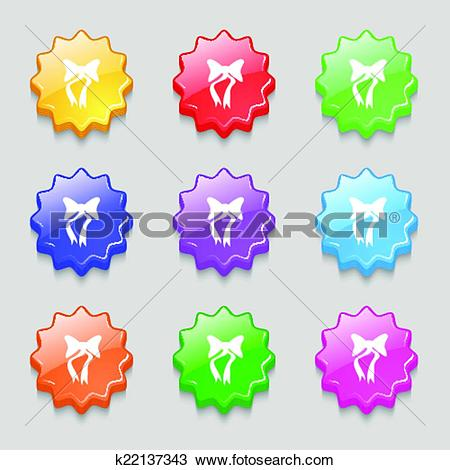 Clipart of graphical decorative bows. Set colourful buttons.