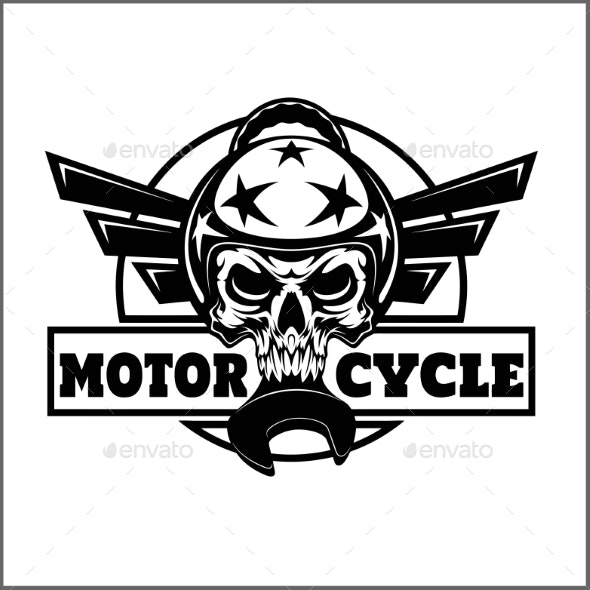 Vector Monochrome Image on a Motorcycle Theme.