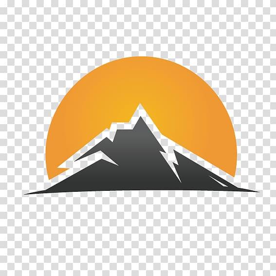 Gray mountain and yellow sun logo, Logo Graphic design.