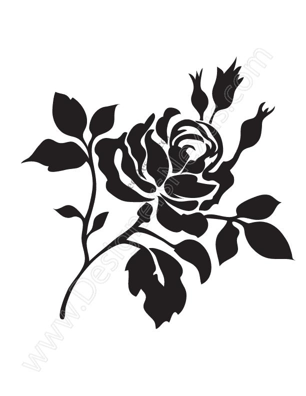 V14 Free Rose Vector Graphic Stencil Clip Art.