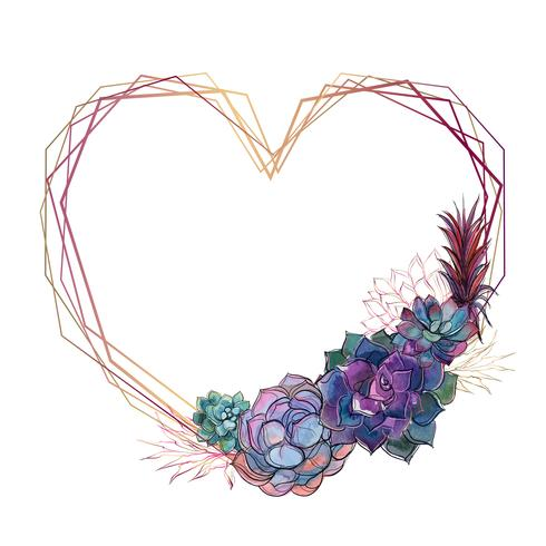 Gold heart frame with succulents. Valentine. Watercolor.