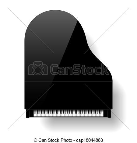 Vektor von Klavier, Großartig, Schwarz, Oberseite, Ansicht.