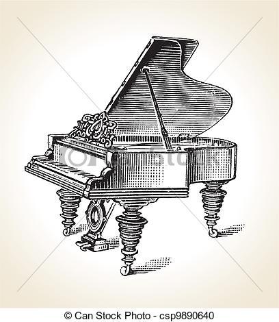 Vektor Clipart von Weinlese, Klavier, Großartig.