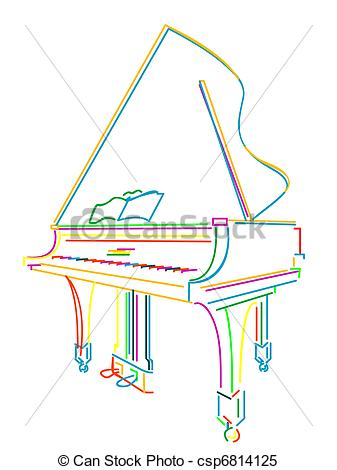 Clipart Vektor von Klavier, aus, weißes, Großartig.