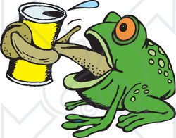 Clipart Illustration of a Thirsty Green Frog Grasping A Canned.
