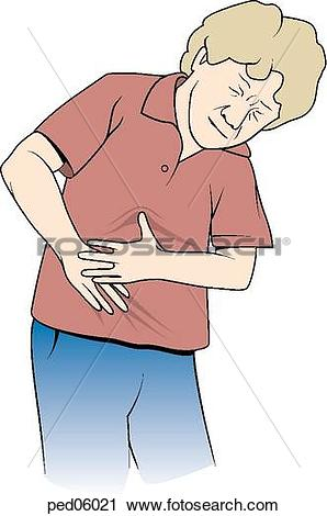 Clipart of Frontal view of boy grasping abdominal region with both.