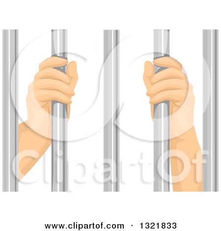 Clipart of Prisoner Hands Grasping Bars.