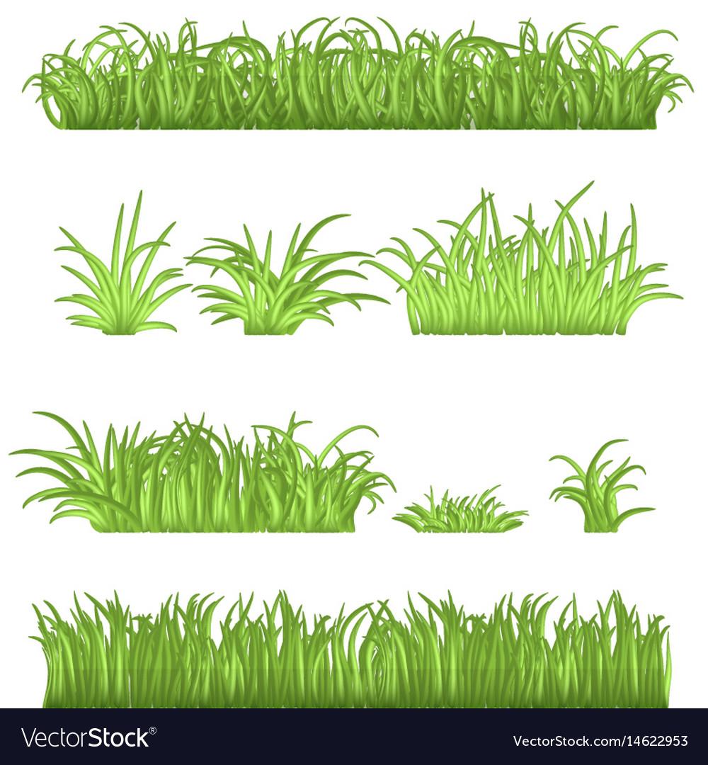 Spring green grass borders set 3d.