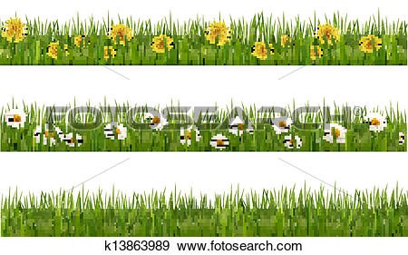 Clip Art of Three nature backgrounds of green grass with.