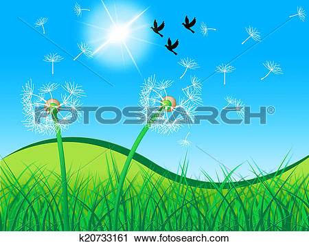 Clipart of Grass Birds Shows Dandelion Seeds And Countryside.