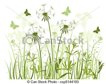 Vectors of floral background with grass and dandelions.
