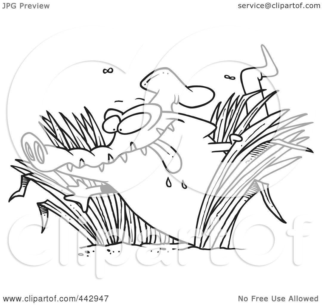 royalty free rf clip art illustration of a cartoon black and white outline design of a hungry chef gator in grasses by ron leishman