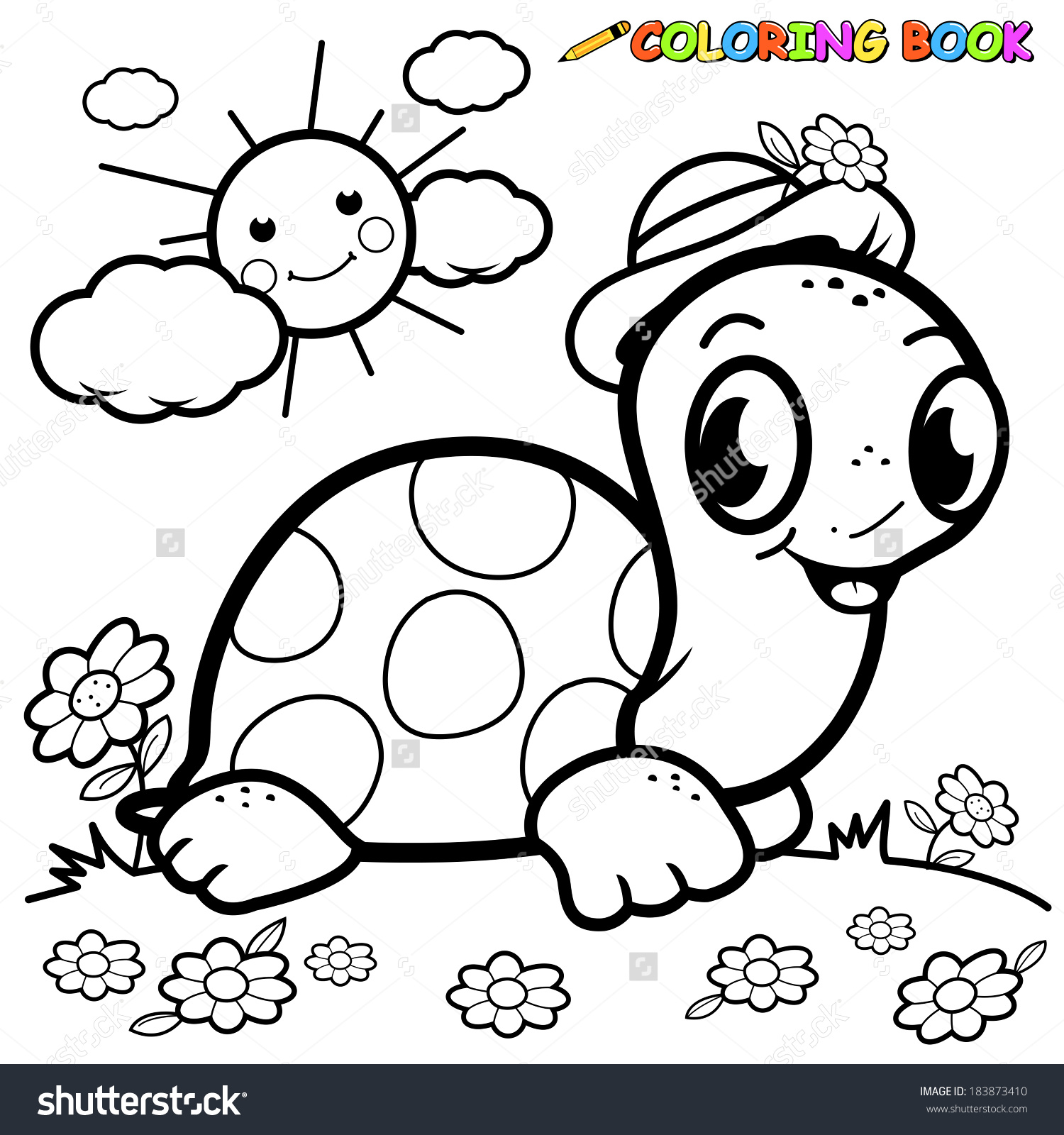 Black White Outline Image Turtle Grass Stock Vector 183873410.