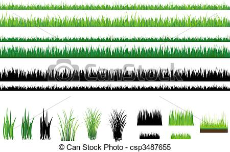 Clipart Vector of Grass collection, Isolated On White.