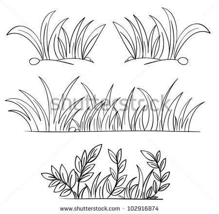 Illustration of grass and plant outlines.