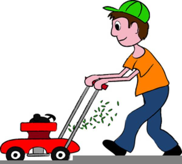 Man Cutting Grass Clipart.