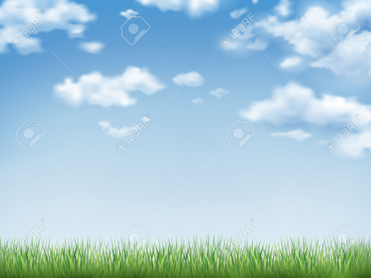 Blue Sky And Field Of Green Grass Background Royalty Free Cliparts.