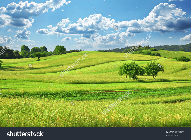 Green Grass Field Landscape Fantastic Clouds Stock Photo 28754767.