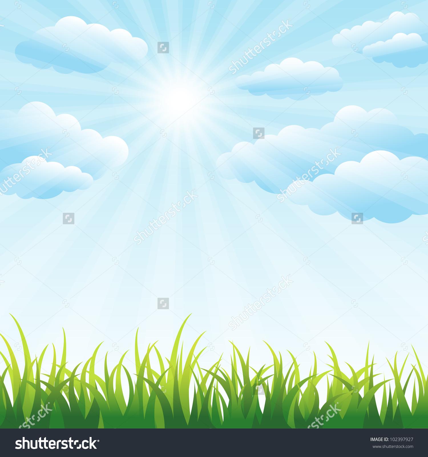 Green Grass Field Blue Sky Vector Stock Vector 102397927.