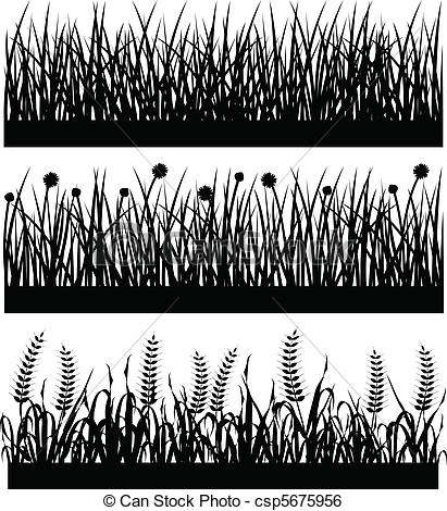 Clip Art Vector of Grass Plant Flower Silhouette.