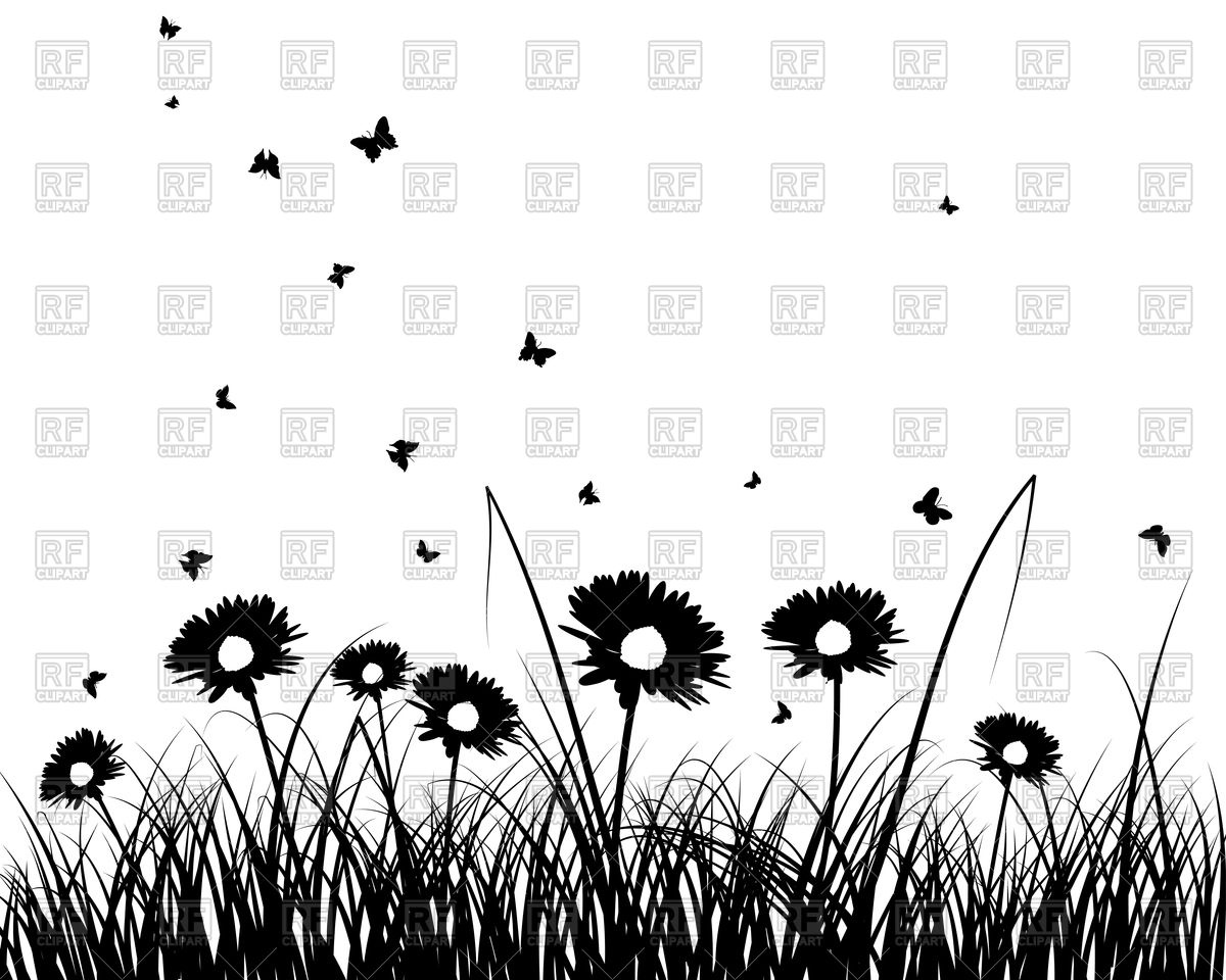 Grass and flowers silhouette Vector Image #105420.