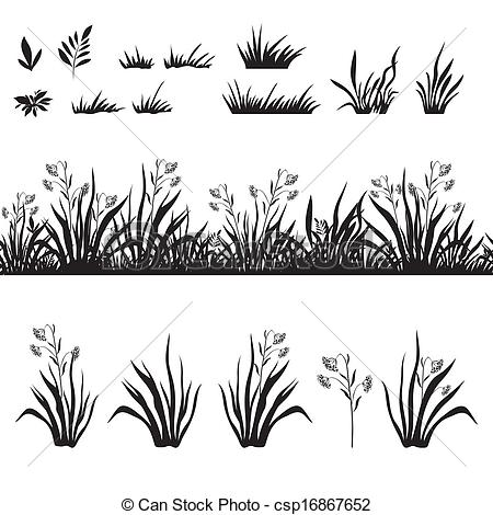 Clipart Vector of Grass and flowers silhouette, seamless and sets.