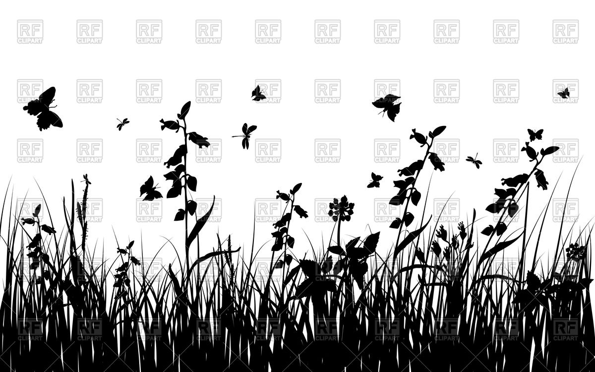 Grass, flowers and butterflies silhouettes Vector Image #84424.