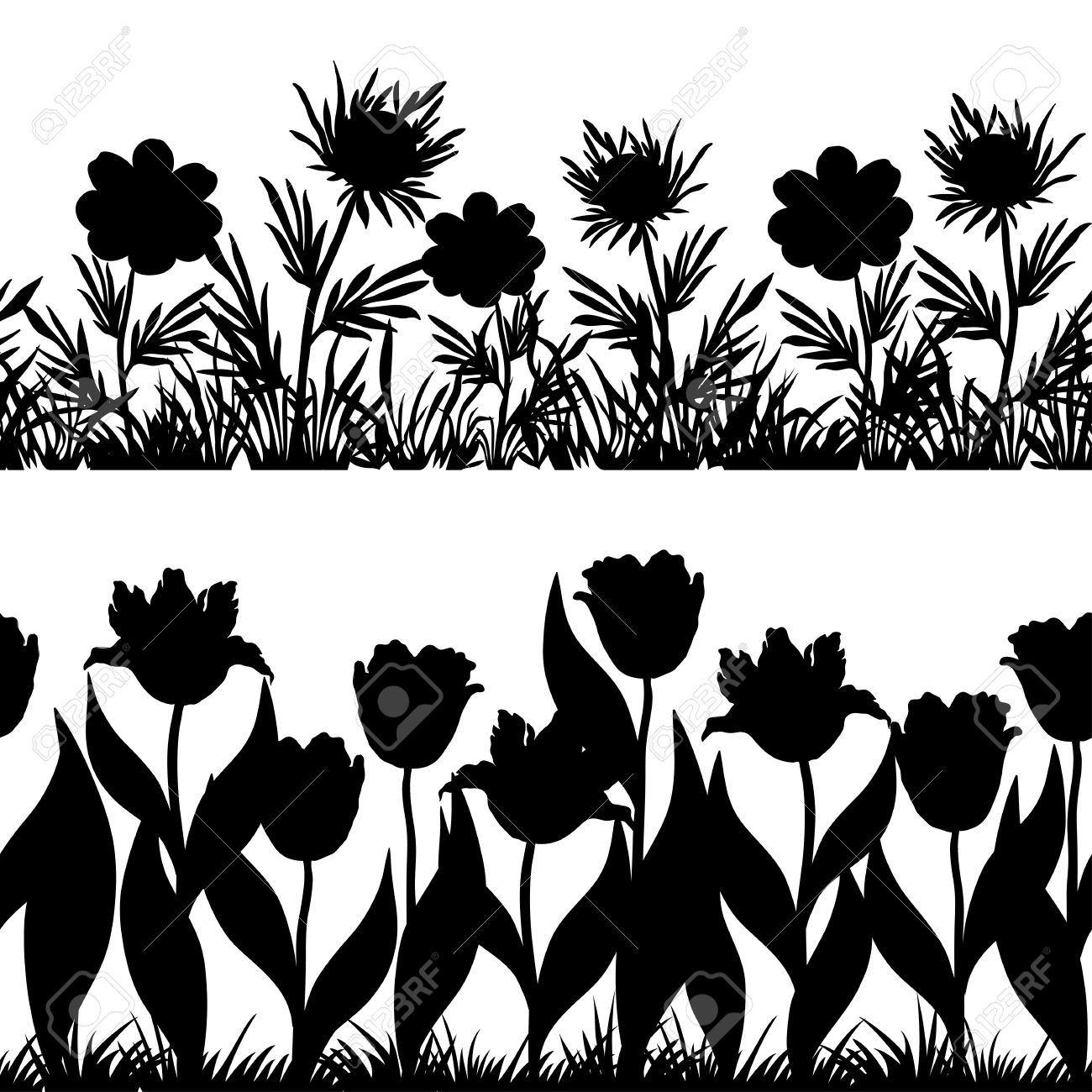 Set Seamless Of Flowers And Grass, Black Silhouette Isolated.