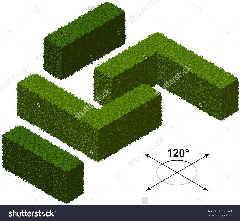 Hedge Isometric Trees Vector Stock Vector 192569573.