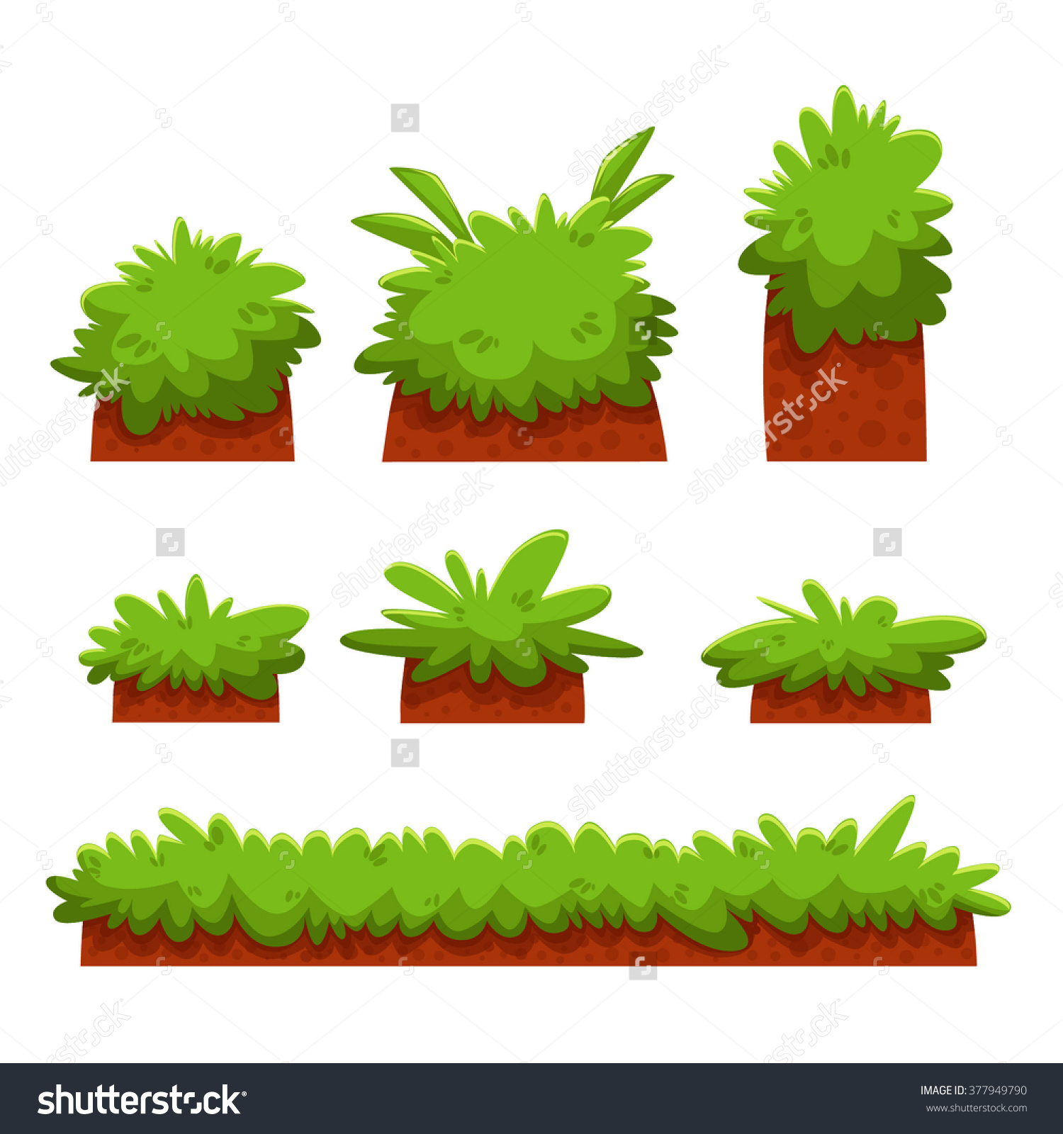 Cartoon Bushes Hedges Grass Leaves Set Stock Vector 377949790.