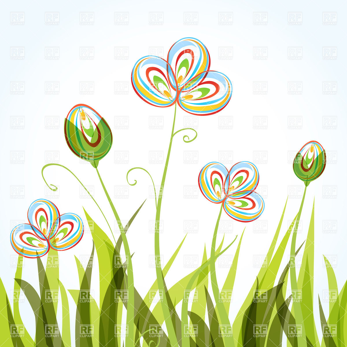Flowers and grass clipart.