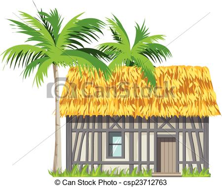Clip Art Vector of A house with a thatched roof and palm trees.