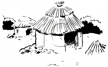 Black and White Image of a Grass Hut with a Thatched Roof.