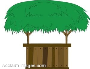 Clip Art of a Tiki Bar With A Grass Roof.