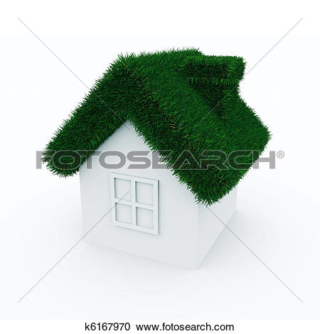 Stock Illustrations of House with green grass roof. k6167970.