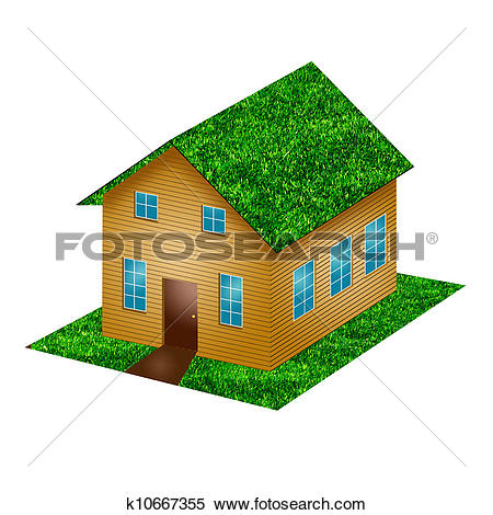 Stock Illustration of A small house with gren grass roof on a.