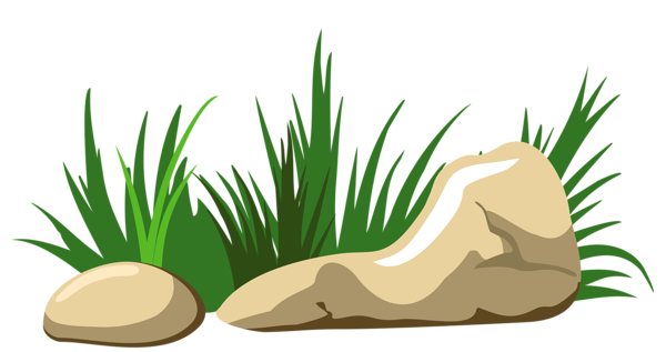 Grass and Stones Transparent PNG Clipart.