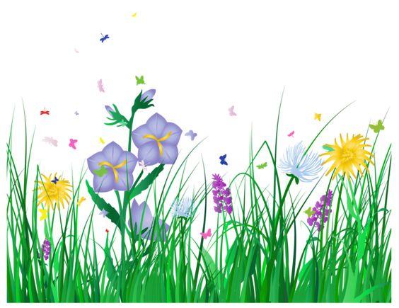 Прозрачный трава и цветы Clipart.