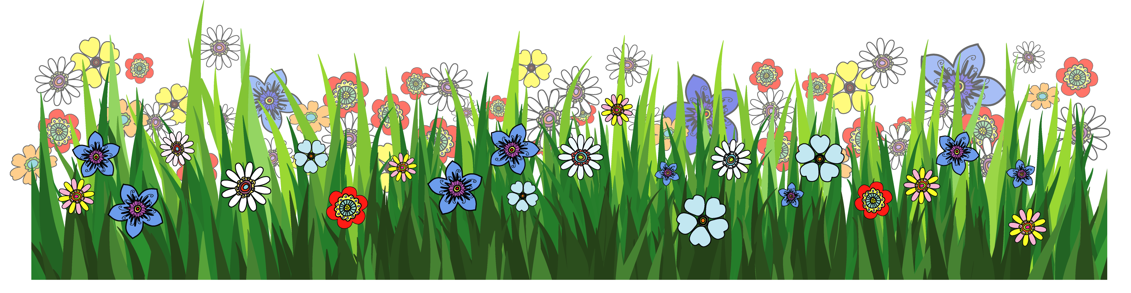 Grass Ground with Flowers PNG Picture.
