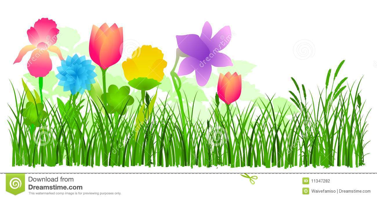 Flowers In Grass Vector Stock Photography.