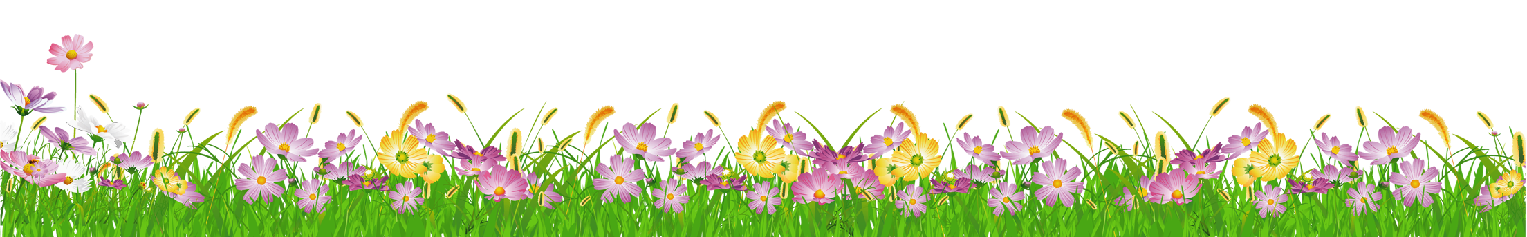 Grass Ground with Pink Flowers PNG Clipart.