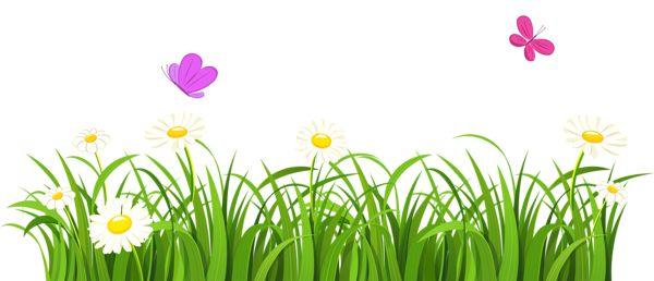 Grass and Butterflies PNG Clipart.