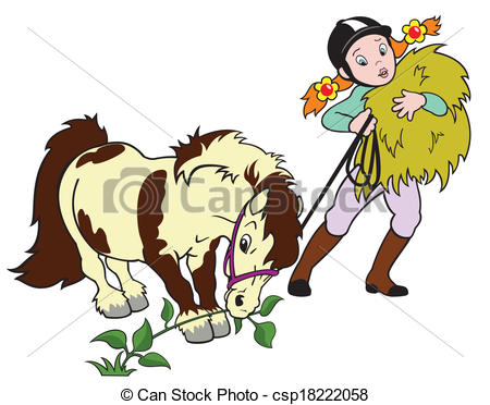 girl riding a horse clipart #8