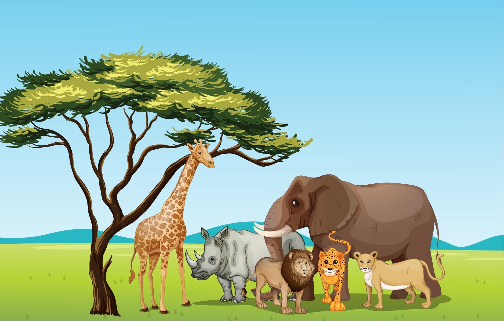 Grassland animals clipart.
